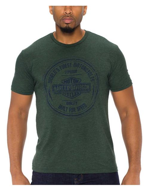 Harley-Davidson Men's Bar & Shield Logo Tri-Blend Short Sleeve T-Shirt, Forest - Wisconsin Harley-Davidson