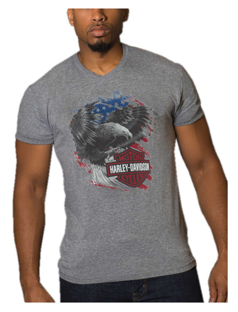 Harley-Davidson Men's Cyclone Eagle Short Sleeve Crew-Neck T-Shirt, Gray - Wisconsin Harley-Davidson