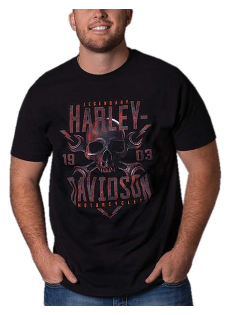 Harley-Davidson Men's Hot Metal Short Sleeve Crew-Neck Cotton T-Shirt, Black - Wisconsin Harley-Davidson