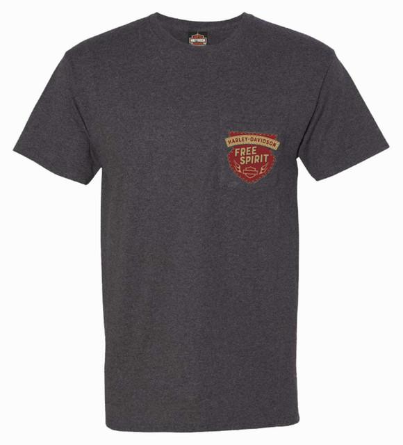 Harley-Davidson Men's Spirit Crest Chest Pocket Short Sleeve T-Shirt, Black - Wisconsin Harley-Davidson