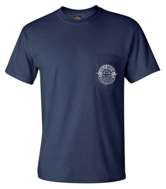 Harley-Davidson Men's Alehouse B&S Chest Pocket Short Sleeve T-Shirt, Navy Blue - Wisconsin Harley-Davidson