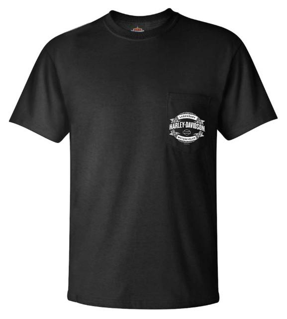 Harley-Davidson Men's Ineffable Chain Chest Pocket Short Sleeve T-Shirt, Black - Wisconsin Harley-Davidson