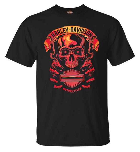 Harley-Davidson Men's Fire Skull Short Sleeve Crew-Neck Cotton T-Shirt, Black - Wisconsin Harley-Davidson