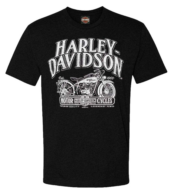 Harley-Davidson Men's Brand Remix Short Sleeve Poly-Blend T-Shirt, Black - Wisconsin Harley-Davidson