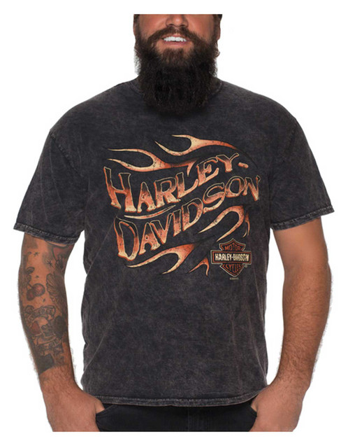 Harley-Davidson Men's Distressed Grunge Flame Short Sleeve T-Shirt, Mineral Wash - Wisconsin Harley-Davidson