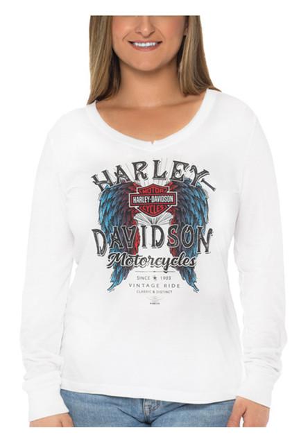 Harley-Davidson Women's Americana Long Sleeve V-Neck Poly-Blend Shirt, White - Wisconsin Harley-Davidson