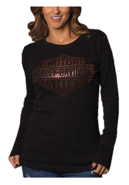 Harley-Davidson Women's Foiled Bar & Shield Long Sleeve Cotton Shirt, Black - Wisconsin Harley-Davidson