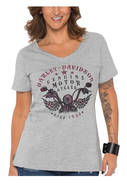 Harley-Davidson Women's Numinous Bling V-Neck Short Sleeve T-Shirt, Heather Gray - Wisconsin Harley-Davidson