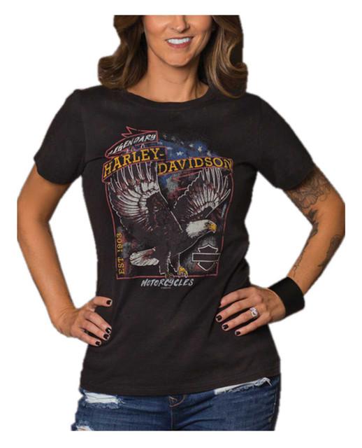 Harley-Davidson Women's Legends Rise Short Sleeve Crew Tee, Black Acid Wash - Wisconsin Harley-Davidson