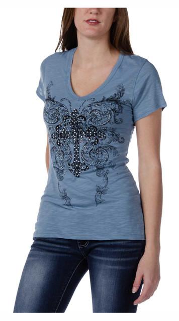 Liberty Wear Women's Embellished Ryder Short Sleeve V-Neck Tee - Dusty Blue - Wisconsin Harley-Davidson