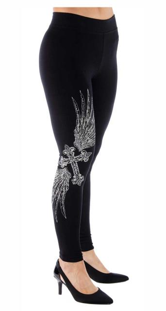 Liberty Wear Women's Cross & Wings Embellished Mid-Rise Leggings - Black - Wisconsin Harley-Davidson