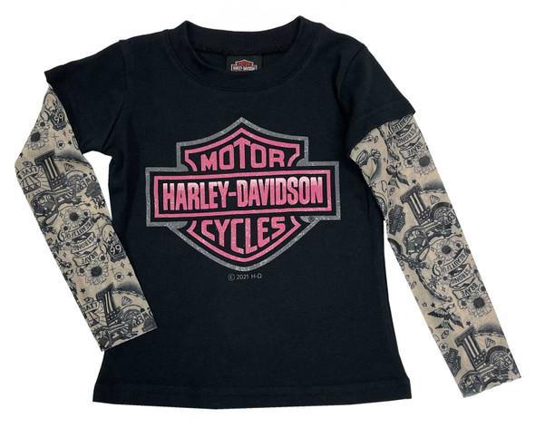 Harley-Davidson Little Girls' Glitter B&S Mesh Tattoo Long Sleeve Tee - Black - Wisconsin Harley-Davidson
