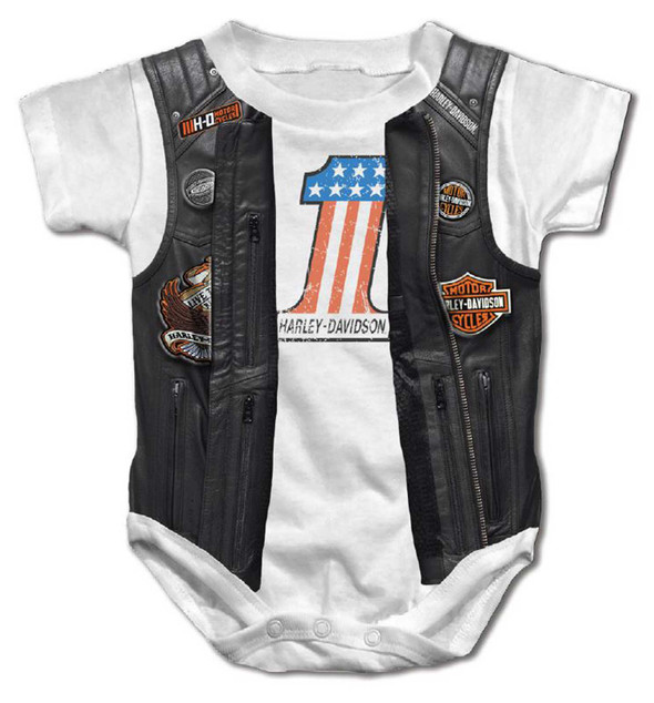 Harley-Davidson Baby Boys' Printed Faux Leather Vest Short Sleeve Creeper, White - Wisconsin Harley-Davidson