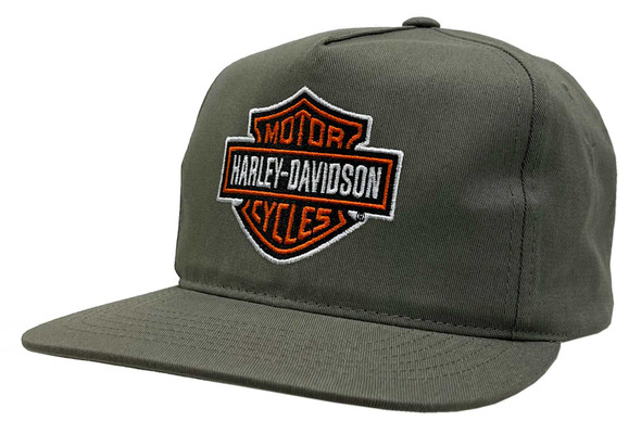 Harley-Davidson Men's Bar & Shield Snapback Flat Brim Baseball Cap - Olive Green - Wisconsin Harley-Davidson