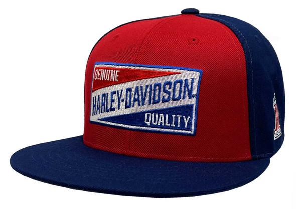Harley-Davidson Men's Go Faster Snapback Two-Tone Baseball Cap - Red & Navy - Wisconsin Harley-Davidson
