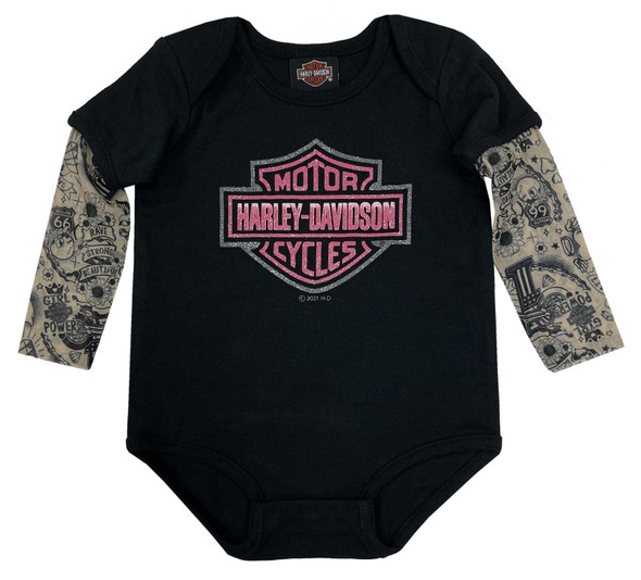 Harley-Davidson Baby Girls' Glitter B&S Mesh Tattoo Long Sleeve Creeper - Black - Wisconsin Harley-Davidson