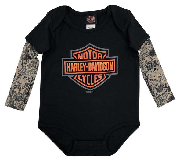 Harley-Davidson Baby Boys' Bar & Shield Mesh Tattoo Long Sleeve Creeper - Black - Wisconsin Harley-Davidson
