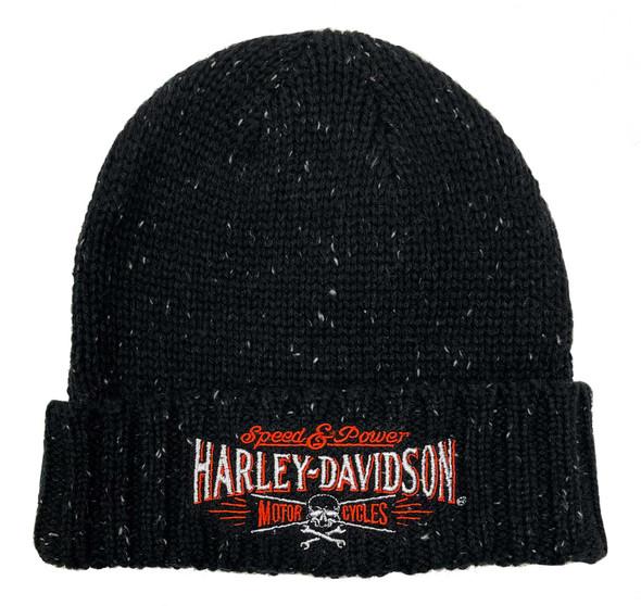 Harley-Davidson Men's Villain Embroidered Heavy Ribbed Cuff Beanie Hat - Black - Wisconsin Harley-Davidson