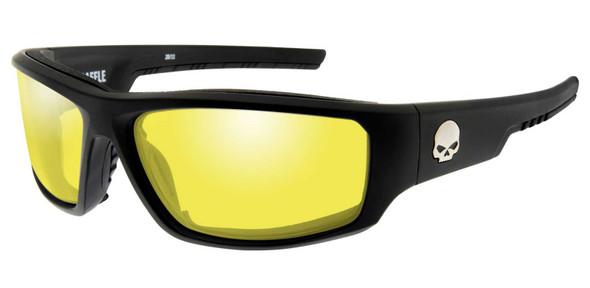 Harley-Davidson Men's Baffle Sunglasses, Yellow Lenses & Matte Black Frames - Wisconsin Harley-Davidson