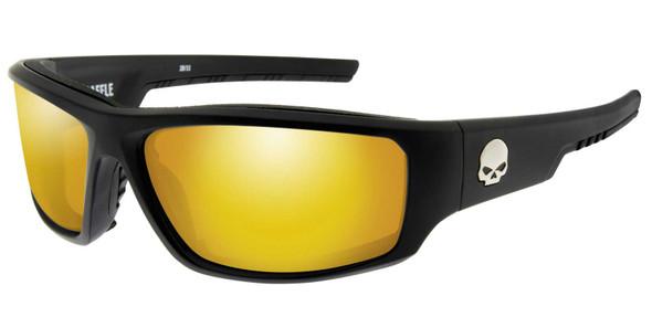 Harley-Davidson Men's Baffle Sunglasses, Orange Mirror Lenses/Matte Black Frames - Wisconsin Harley-Davidson