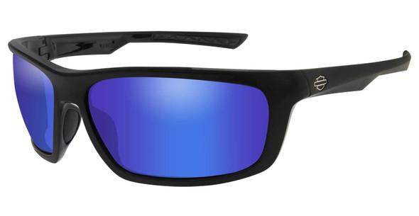 Harley-Davidson Men's Gears Sunglasses, Blue Mirror Lenses & Gloss Black Frames - Wisconsin Harley-Davidson