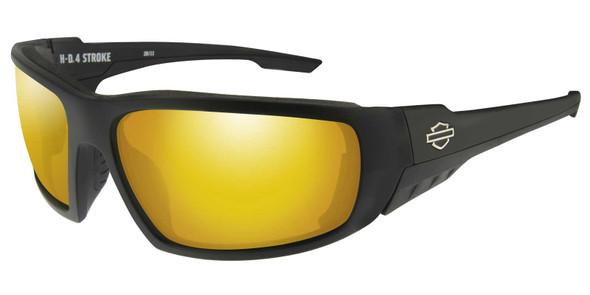 Harley-Davidson Men's 4 Stroke Sunglasses, Orange Mirror Lens/Gloss Black Frames - Wisconsin Harley-Davidson