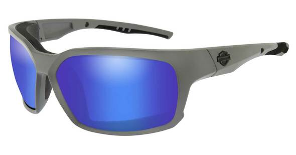 Harley-Davidson Men's COGS Sunglasses, Blue Mirror Lenses & Matte Gray Frames - Wisconsin Harley-Davidson