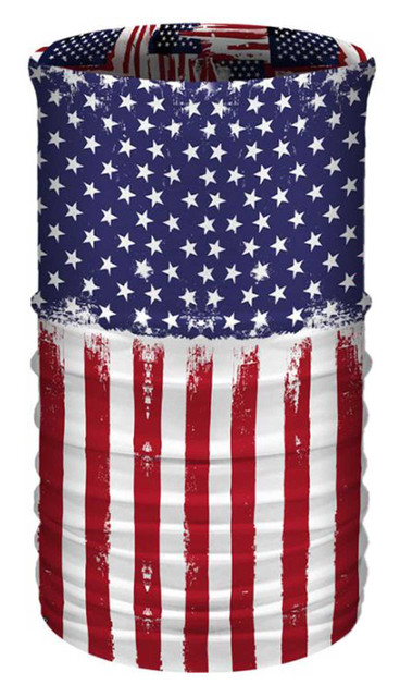 That's A Wrap Unisex RWB American Flag Multi-Function Reversible Tube Face Cover - Wisconsin Harley-Davidson