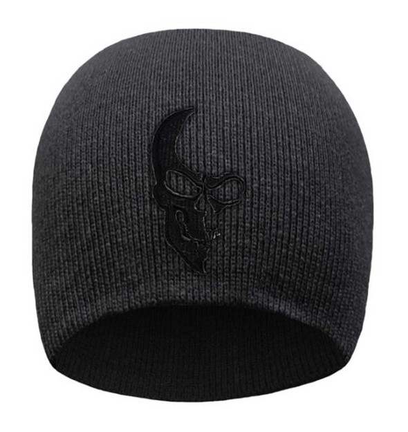 That's A Wrap Men's Embroidered Ghosted Half Skull Knit Beanie Cap - Black - Wisconsin Harley-Davidson