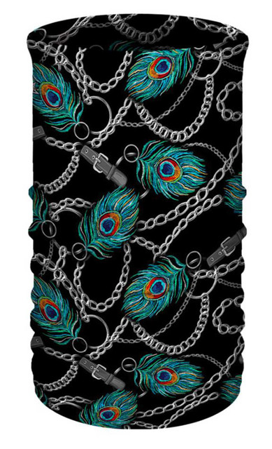 That's A Wrap Womens Peacock Chainlink Multi-Function Reversible Tube Face Cover - Wisconsin Harley-Davidson