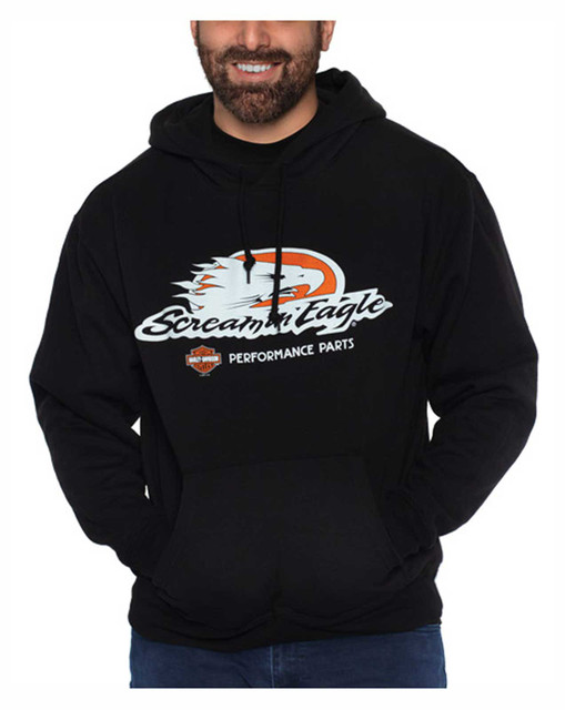 Harley-Davidson Men's Screamin' Eagle Pullover Poly-Blend Fleece Hoodie, Black - Wisconsin Harley-Davidson
