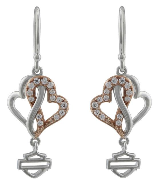 Harley-Davidson Women's White & Rose Gold Bling Infinity Hearts Drop Earrings - Wisconsin Harley-Davidson