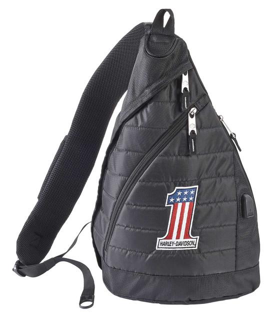 Harley-Davidson #1 RWB Logo Deluxe USB Quilted Travel Sling Backpack - Black - Wisconsin Harley-Davidson
