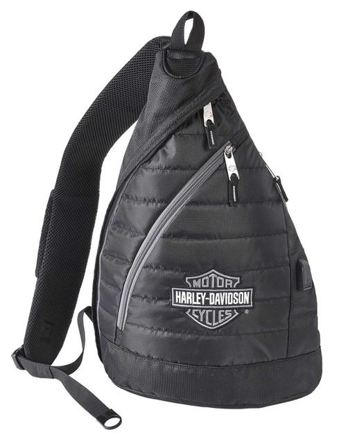 Harley-Davidson Bar & Shield Deluxe USB Quilted Travel Sling Backpack - Black - Wisconsin Harley-Davidson