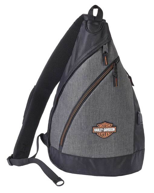 Harley-Davidson Bar & Shield Deluxe USB Travel Sling Backpack - Heather Gray - Wisconsin Harley-Davidson
