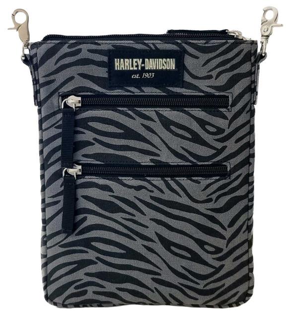 Harley-Davidson Women's Zebra Print Cotton Canvas Crossbody / Clip Bag Purse - Wisconsin Harley-Davidson
