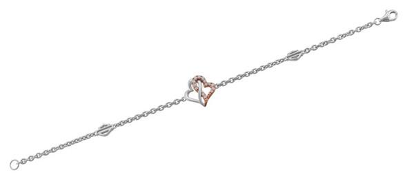 Harley-Davidson Women's White & Rose Gold Bling Infinity Hearts Bracelet, Silver - Wisconsin Harley-Davidson