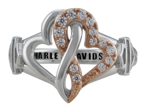Harley-Davidson Women's White & Rose Gold Bling Infinity Hearts Ring, Silver - Wisconsin Harley-Davidson