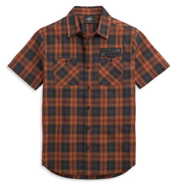 Harley-Davidson Men's Patch Logo Short Sleeve Plaid Woven Shirt 96370-21VM - Wisconsin Harley-Davidson