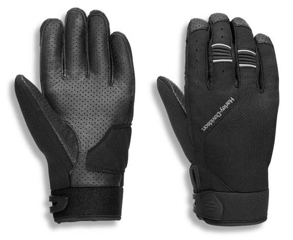 Harley-Davidson Men's Kilbourn Full-Finger Mixed Media Gloves, Black 97119-21VM - Wisconsin Harley-Davidson