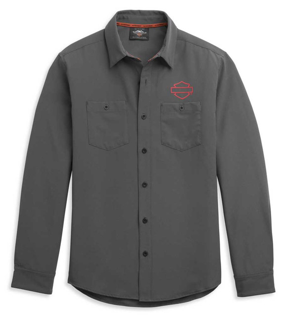 Harley-Davidson Men's HD-MC Logo Long Sleeve Woven Shirt - Gray 96341-21VM - Wisconsin Harley-Davidson