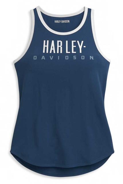 Harley-Davidson Women's Block Letter Contrast Sleeveless Tank Top 96377-21VW - Wisconsin Harley-Davidson