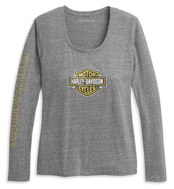 Harley-Davidson Women's Bar & Shield Scoop Neck Knit Top - Gray 96390-21VW - Wisconsin Harley-Davidson