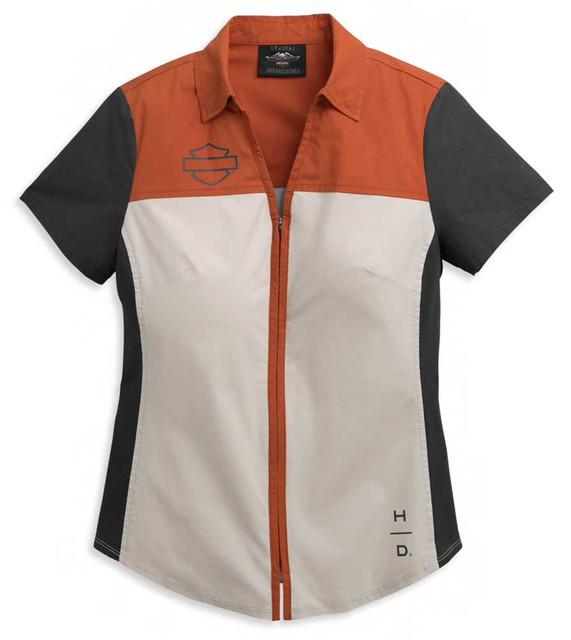 Harley-Davidson Women's Horizon Logo Colorblocked Zip Front Shirt 96395-21VW - Wisconsin Harley-Davidson