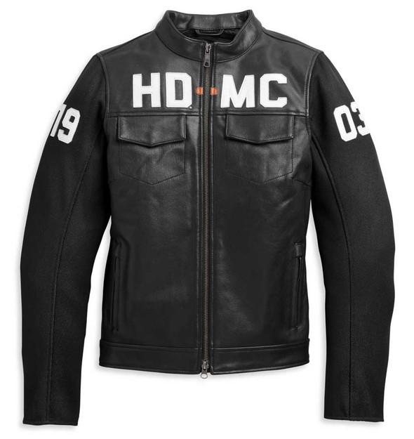 Harley-Davidson Women's HD-MC Mixed Media Bomber Jacket, Black 97018-21VW - Wisconsin Harley-Davidson