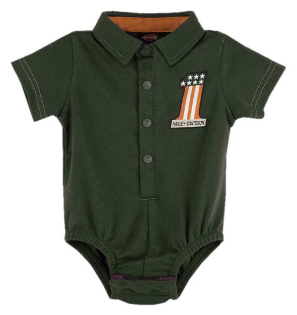 Harley-Davidson Baby Boys' #1 RWB Short Sleeve Infant Knit Creeper - Green - Wisconsin Harley-Davidson