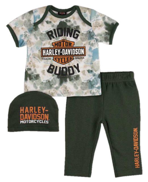 Harley-Davidson Baby Boys' Tie-Dye Print Newborn 3-piece Set w/ Gift Bag - Green - Wisconsin Harley-Davidson