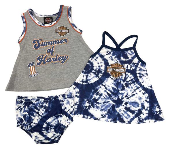 Harley-Davidson Baby Girls' Tie-Dye 2-Pack Newborn Sundresses & Diaper Cover Set - Wisconsin Harley-Davidson