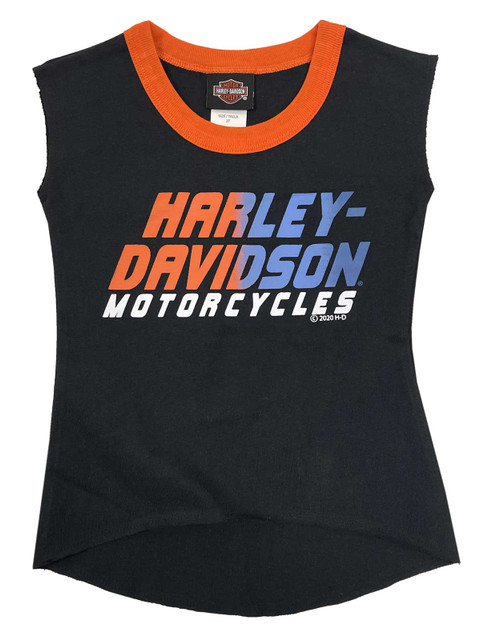 Harley-Davidson Little Girls' Bold Interlock Aline Sleeveless Tank Top - Black - Wisconsin Harley-Davidson