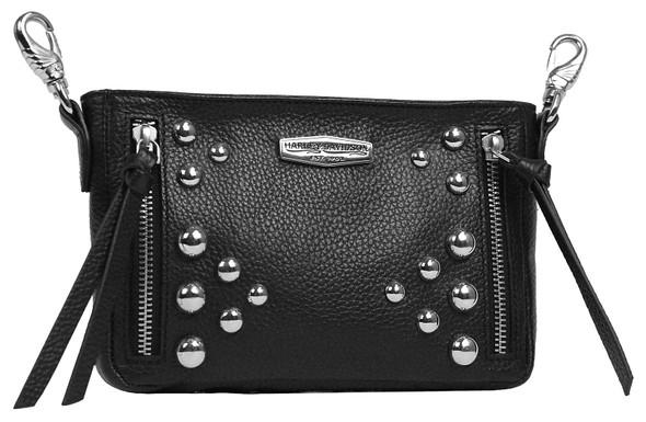 Harley-Davidson Women's Heavy Metal Leather Hip Bag w/ Detachable Strap - Black - Wisconsin Harley-Davidson